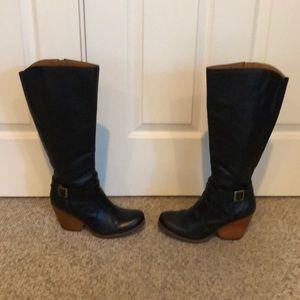 Kork Ease Black leather tall wedge heel tall boot